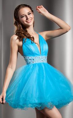 Vestidos princesa/ Formato A Decote V Curto/Mini Tule Vestido de boas vindas com Bordado (022020907)