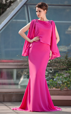 Trumpet/Mermaid Scoop Neck Sweep Train Chiffon Mother of the Bride Dress With Beading (008018972)