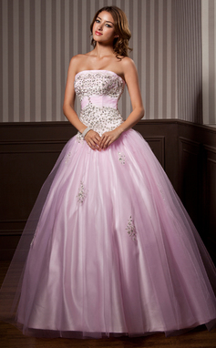 Ball-Gown Strapless Floor-Length Tulle Quinceanera Dress With Ruffle Beading Sequins (021004579)