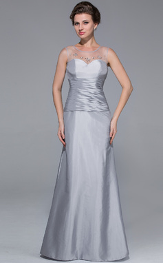 Trumpet/Mermaid Scoop Neck Floor-Length Taffeta Mother of the Bride Dress With Ruffle Beading (008025725)