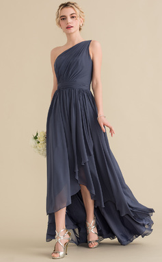 A-Line/Princess One-Shoulder Asymmetrical Chiffon Bridesmaid Dress With Cascading Ruffles (007144732)