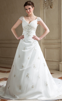 A-Line/Princess V-neck Chapel Train Tulle Wedding Dress With Embroidered Ruffle Beading (002011655)