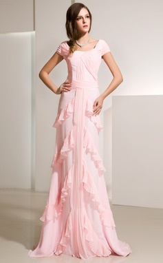 A-Line/Princess Scoop Neck Sweep Train Chiffon Evening Dress With Cascading Ruffles (017014216)