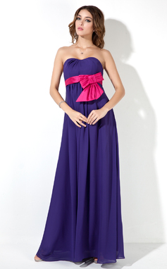 Empire Sweetheart Floor-Length Chiffon Maternity Bridesmaid Dress With Sash Bow(s) (016025854)