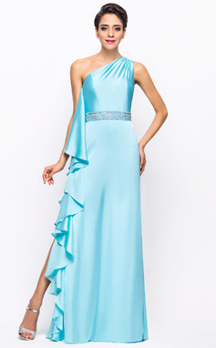 Sheath/Column One-Shoulder Floor-Length Satin Chiffon Prom Dress With Beading Split Front Cascading Ruffles (018052720)