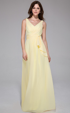 A-Line/Princess V-neck Floor-Length Chiffon Evening Dress With Ruffle (017025777)