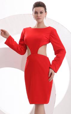 Vestido tubo Escote redondo Hasta la rodilla Jersey Baile de promoción (016023928)