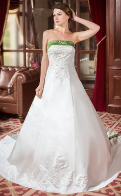 A-Line/Princess Strapless Royal Train Satin Wedding Dress With Embroidered Sash Beading (002000040)