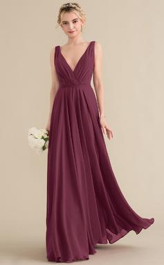A-Line/Princess V-neck Floor-Length Chiffon Bridesmaid Dress With Ruffle (007144743)