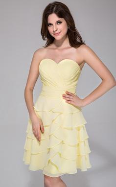 Vestidos princesa/ Formato A Coração Coquetel De chiffon Vestido de boas vindas com Babados em cascata (022039563)