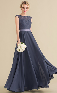 A-Line/Princess Scoop Neck Floor-Length Chiffon Lace Bridesmaid Dress With Bow(s) (007144776)