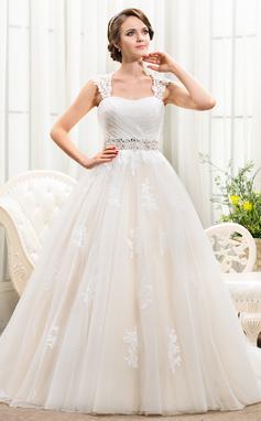 Balklänning Hjärtformad Chapel släp Tyll Bröllopsklänning med Pärlbrodering Applikationer Spetsar Paljetter (002056241)