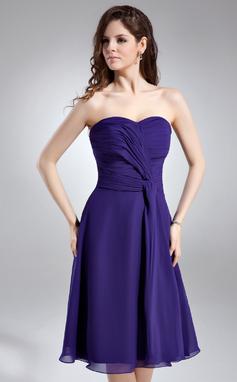 Vestidos princesa/ Formato A Coração Coquetel De chiffon Vestido de boas vindas com Pregueado (022009354)