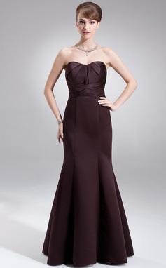Trumpet/Mermaid Sweetheart Floor-Length Satin Bridesmaid Dress With Ruffle (007001866)