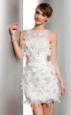 Forme Fourreau Col rond Court/Mini Satiné Organza Robe de mariée avec Plissé Fleur(s) (002014506)