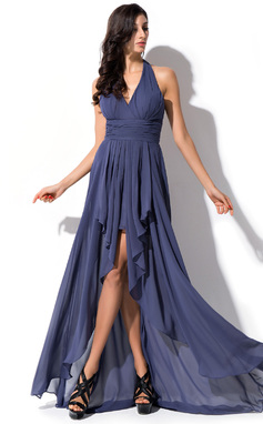 A-Line/Princess Halter Asymmetrical Chiffon Prom Dress With Bow(s) Cascading Ruffles (018052695)
