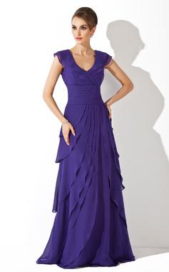 Vestidos princesa/ Formato A Decote V Sweep/Brush trem De chiffon Vestido de festa com Babados em cascata (017020663)