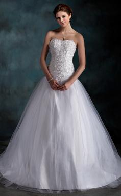 Forme Marquise Bustier en coeur Traîne moyenne Taffeta Tulle Robe de mariée avec Plissé Dentelle Emperler (002000160)