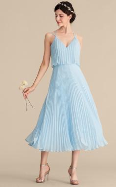 Трапеция V-образный Длина ниже колен шифон Коктейльные Платье с Плиссированный (016192791)