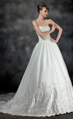 Ball-Gown Sweetheart Chapel Train Satin Wedding Dress With Embroidered Ruffle Beading (002017191)
