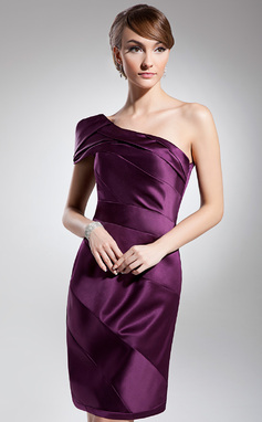 Jakke One-Shoulder Knælængde Satin Cocktailkjole med Flæsekanter (016014695)