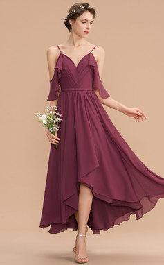 Трапеция V-образный асимметричный шифон Платье Подружки Невесты (007165867)