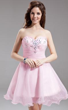 A-formet/Prinsesse Sweetheart Kort/Mini Organza Ballkjole med Frynse Perlebesydd (022016300)