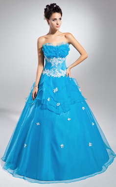 Ball-Gown Scalloped Neck Floor-Length Organza Prom Dress With Beading Appliques Lace Sequins Cascading Ruffles (018135346)