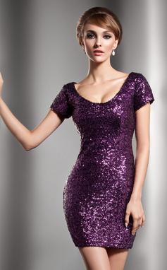 Платье-чехол Круглый Мини-платье С блестками Коктейльные Платье (016006687)