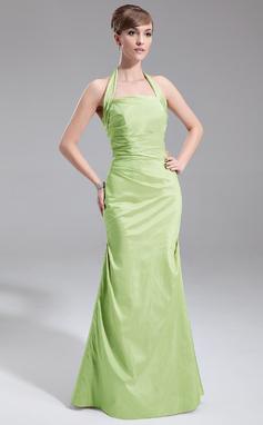 A-Line/Princess Halter Floor-Length Taffeta Bridesmaid Dress With Ruffle (007001857)