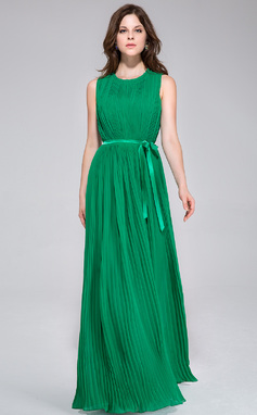 A-Line/Princess Scoop Neck Floor-Length Chiffon Bridesmaid Dress With Pleated (022028096)