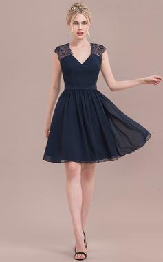 Vestidos princesa/ Formato A Decote V Coquetel Tecido de seda Renda Vestido de boas vindas (022125047)