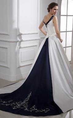 Платье для Балла V-образный Церковный шлейф Атлас Свадебные Платье с Вышито развальцовка блестки (002015473)