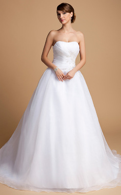 Ball-Gown Sweetheart Chapel Train Organza Wedding Dress With Ruffle Beading Appliques Lace Sequins (002014703)