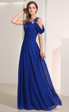 A-Line/Princess One-Shoulder Floor-Length Chiffon Holiday Dress With Crystal Brooch (020014193)