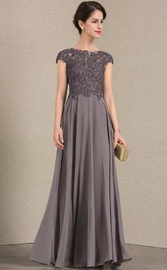 Vestidos princesa/ Formato A Decote redondo Longos Tecido de seda Renda Vestido para a mãe da noiva com Beading (008143385)
