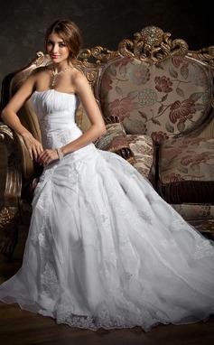 Трапеция/Принцесса В виде сердца Церемониальный шлейф Атлас Органза Свадебные Платье с Рябь кружева Бисер (002012207)