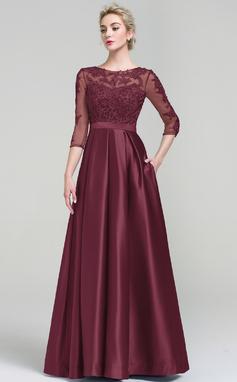Платье для Балла Круглый Длина до пола Атлас Вечерние Платье с Карманы (017093487)