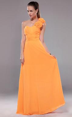 Vestidos princesa/ Formato A Um ombro Longos De chiffon Vestido de festa com Pregueado fecho de correr (017012109)