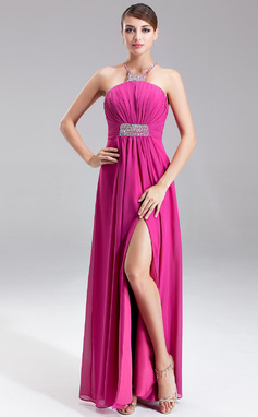 Empire Halter Floor-Length Chiffon Prom Dress With Ruffle Beading Split Front (018135244)