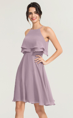 Vestidos Princesa/ Formato A Decote quadrado Coquetel Tecido de seda Vestido de cocktail (016170872)