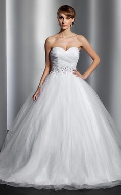 De baile Amada Cauda longa Tule Vestido de noiva com Pregueado Beading lantejoulas (002014800)