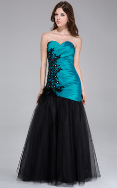 Trumpet/Mermaid Sweetheart Floor-Length Taffeta Tulle Prom Dress With Ruffle Beading Feather Appliques Lace Flower(s) (022027374)