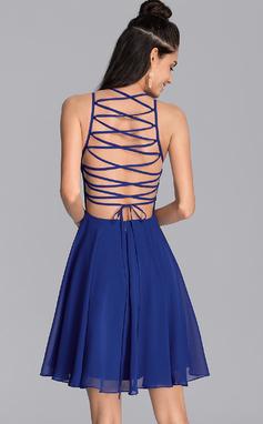 Corte A Decote redondo Curto/Mini Tecido de seda Vestido de boas vindas (022206538)