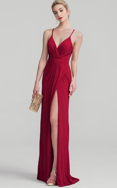 Платье-чехол V-образный Длина до пола Jersey Платье Для Выпускного Вечера с Рябь (018138543)