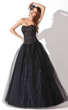 Платье для Балла возлюбленная Длина до пола Тюль Пышное платье с развальцовка блестки (021004678)