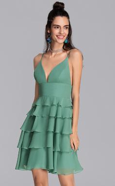 Corte A Decote V Curto/Mini Tecido de seda Vestido de boas vindas com Babados em cascata (022206543)
