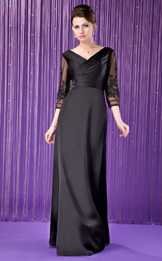 A-Line/Princess V-neck Floor-Length Satin Chiffon Mother of the Bride Dress With Ruffle Lace Beading (008018709)