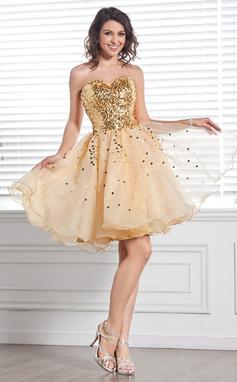 Forme Princesse Bustier en coeur Longueur genou Organza Pailleté Robe de soirée étudiante (022020680)