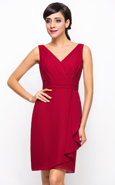 A-Line/Princess V-neck Knee-Length Chiffon Bridesmaid Dress With Cascading Ruffles (007054310)